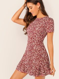 Allover Floral Print Ruffle Hem Textured Dress