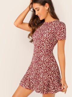 Allover Floral Print Ruffle Hem Textured Dress