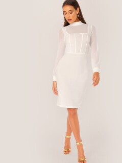 Mock Neck Mesh Overlay Pencil Dress