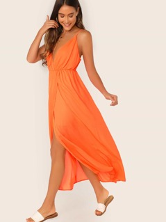 Neon Orange Plunging Neck Wrap Slip Dress