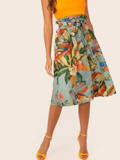 Tropical Print Button Front Paperbag Waist Belted Skirt