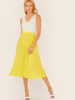 Neon Yellow High Waist Pleated Skirt