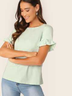 Ruffle Cuff Striped Top
