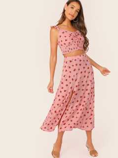 Drawstring Ruched Front Shirred Crop Top & Split Thigh Skirt Set
