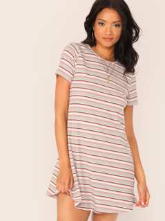 Curved Hem Rib-knit Striped Dress