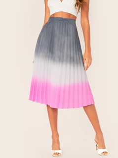 Pleated Ombre Dyed Flared Midi Skirt