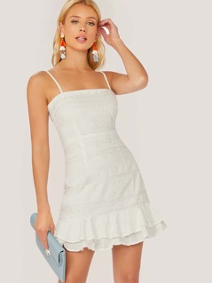Spaghetti Strap Raw Edge Detail Ruffle Hem Dress