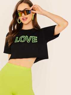 Scoop Neck Raw Hem Neon Love Graphic T-Shirt