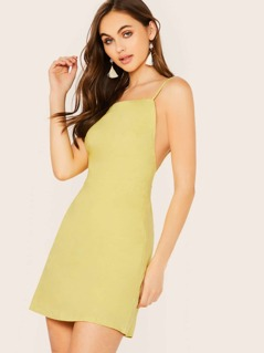 Square Neck Lace Up Back Sleeveless Mini Dress