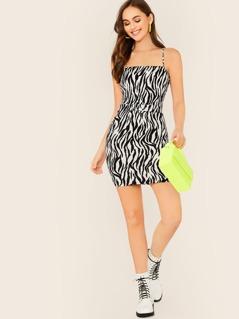 Sleeveless Belted Waist Zebra Print Mini Dress