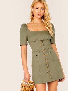 Puff Sleeve Button Detail Cargo Mini Dress