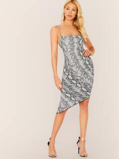 Sleeveless Snake Print Ruched Asymmetric Dress