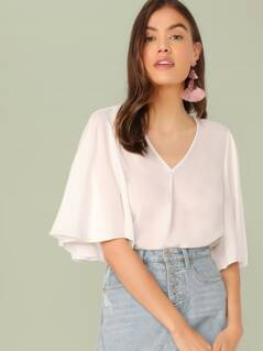 V-neck Flutter Sleeve Solid Top