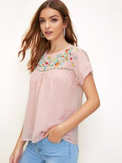 Keyhole Back Embroidery Detail Jacquard Top
