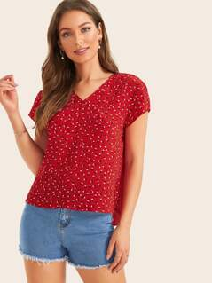Pleated Detail Back Ditsy Floral Top
