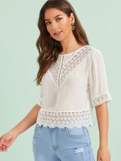 Tie Back Guipure Lace Insert Top