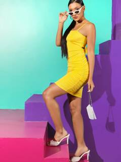 Tie Back Ruched Bodycon Slip Dress