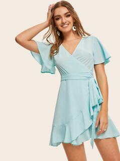 Flutter Sleeve Ruffle Hem Wrap Belted Dress