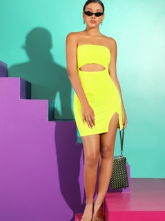 Neon Yellow Cutout Front Split Tube Dress