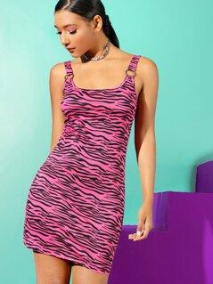 Zebra Print Bodycon Dress With O-ring Strap