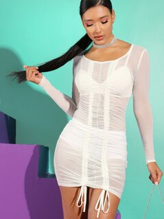 Sheer Ruched Drawstring Front Bodycon Dress Without Lingerie