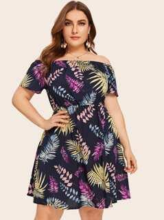 Plus Tropical Print Bardot Flare Dress
