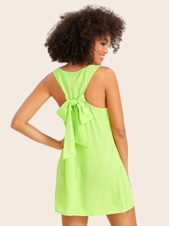 Neon Lime Tie Back Tank Dress