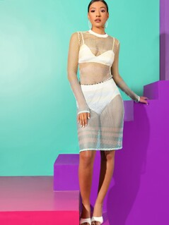 Sheer Mesh Dress Without Lingerie