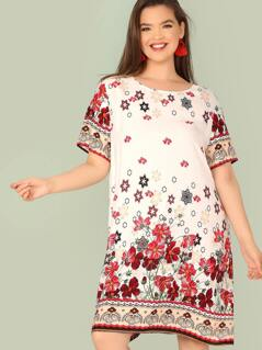 Plus Botanical Print Tunic Dress