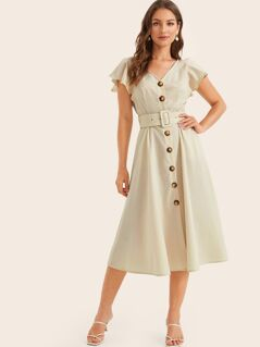 Flutter Sleeve Buckle Belted Button Up Tea Dress