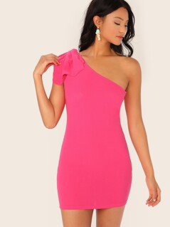Neon Pink Bow Detail One Shoulder Pencil Dress