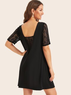 Deep V Back Lace Insert Dress