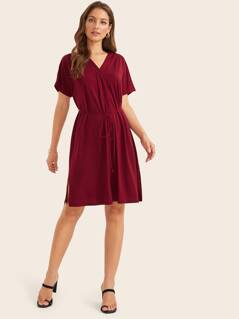 Split Side Pleated Detail Belted Dress