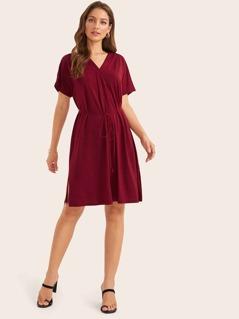 Split Side Pleated Detail Belted Dress