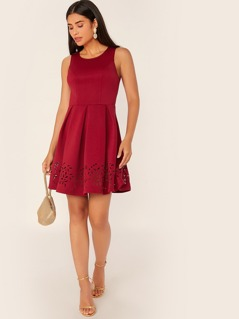 Solid Boxy Pleated Laser Cut Hem Dress