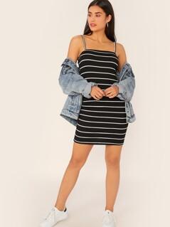 Striped Rib-knit Bodycon Slip Dress