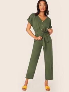 Roll Up Sleeve Buttoned Belted Jumpsuit