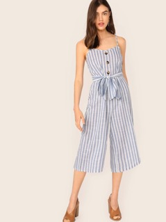 Button Detail Self Belted Wide Leg Cami Jumpsuit