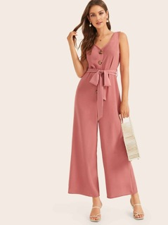 Buttoned Front Belted Wide Leg Jumpsuit