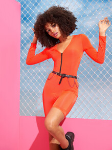 Neon Orange Zip Front Unitard Romper Without Belted