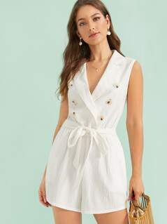 Notched Collar Double Breasted Belted Romper