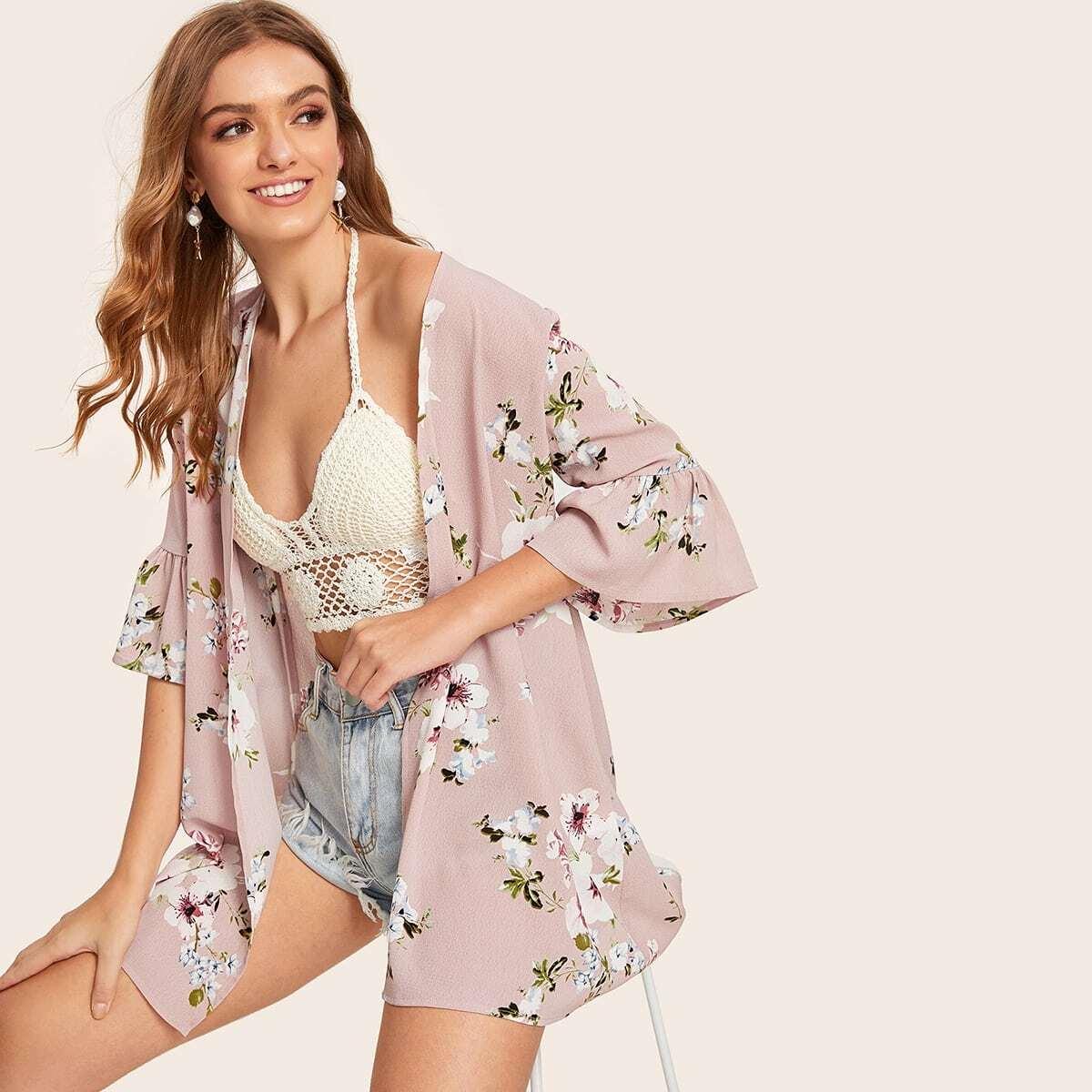Roze  Boho Bloemen kimono Rimpeling