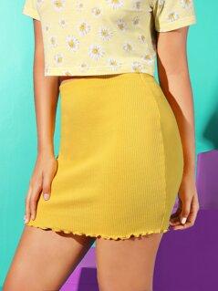 Lettuce Trim Rib-knit Bodycon Skirt