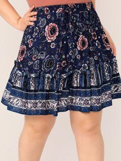 Plus Floral Print Frill Trim Skater Skirt