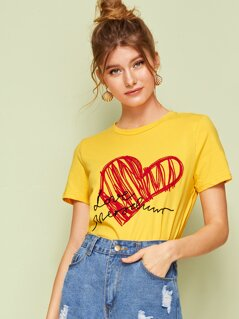Letter and Heart Appliques Top