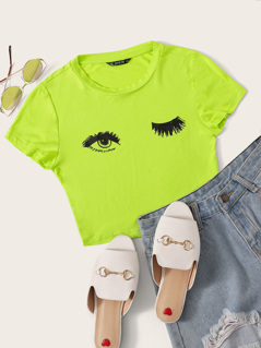 Neon Lime Eyelash and Eye Print Tee