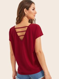 Solid Strappy Back Top