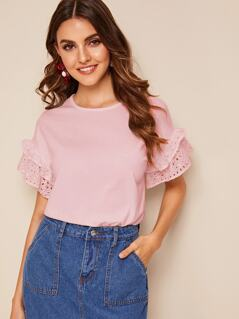 Solid Eyelet Embroidered Sleeve Top