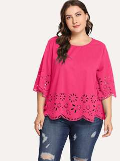 Plus Scallop Hem Laser Cut Top