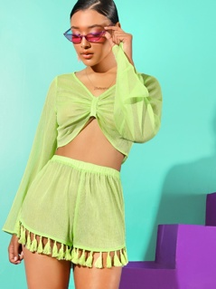 Neon Green Knot Front Crop Top & Tassel Hem Shorts Set